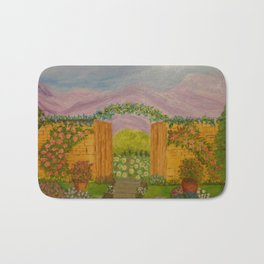 Beyond The Gate Acrylic Painting by Rosie Foshee Bath Mat