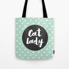 Cat Lady - mint cat pattern Tote Bag