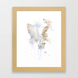 """Watercolor Painting of Picture """"White Owl"""" Framed Art Print"""