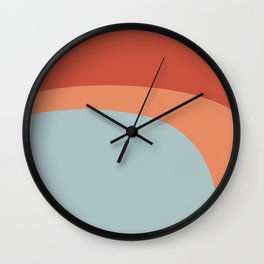 Miracle Rock in Orange & Blue _Block Colour Wall Clock