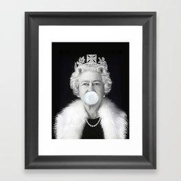 QUEEN ELIZABETH II BLOWING WHITE BUBBLE GUM Framed Art Print