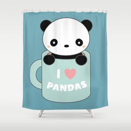 Kawaii I Love Pandas Shower Curtain