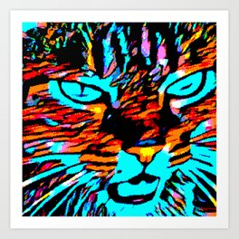 Nina the Wild Pixelated Cat Art Print