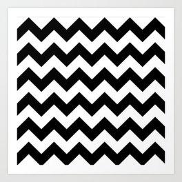 BLACK AND WHITE CHEVRON PATTERN - THICK LINED ZIG ZAG Art Print