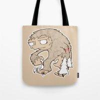 sasquatch Tote Bags featuring Sasquatch by rebecca miller