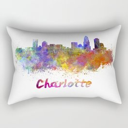 Charlotte skyline in watercolor Rectangular Pillow