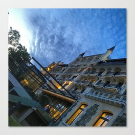 Swiss Hotel at night Canvas Print
