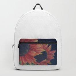 Dramatic sunflowers on black background Backpack