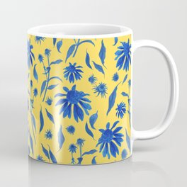 Elegant Blue Cone Flowers on Mustard Yellow Coffee Mug