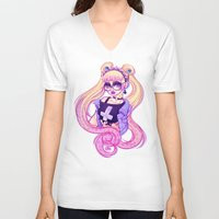 pastel goth V-neck T-shirts featuring Pastel Goth Usagi (Glasses ON) by Gunkiss