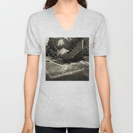 Sinking into the Pool Black and White Unisex V-Neck