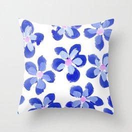 Posey Power - Ink Blue Multi Throw Pillow