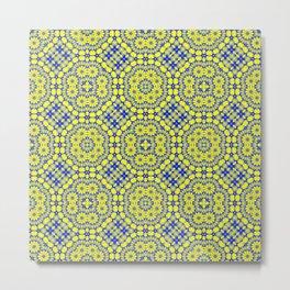 Blue and gold mosaic pattern Metal Print