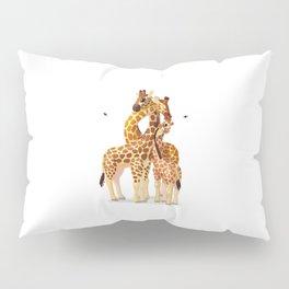 Cute giraffes loving family Pillow Sham
