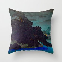 Vintage Japanese Woodblock Print Raining Landscape Tree On Rock Leaning Into The Lake Comforting Nig Throw Pillow