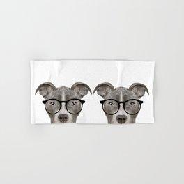 Pit bull with glasses Dog illustration original painting print Hand & Bath Towel