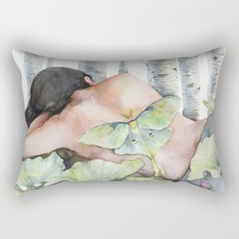 Sleeping in the Forest, Luna Moth Girl with Dark Hair Rectangular Pillow