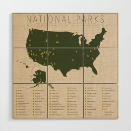 US National Parks Wood Wall Art