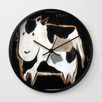 cow Wall Clocks featuring cow by woman
