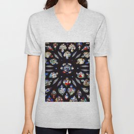 Stained glass sainte chapelle gothic Unisex V-Neck