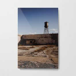 Abandoned Warehouse & Water Tower Metal Print