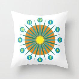 Mod Clock 3 Throw Pillow