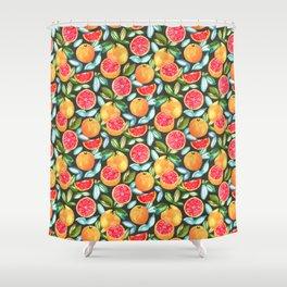 Grapefruits On Navy Shower Curtain