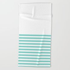 Tiffany Blue Half Stripe Beach Towel