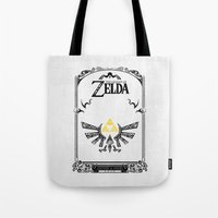 the legend of zelda Tote Bags featuring Zelda legend - Hyrulian Emblem by Art & Be