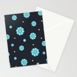 Abstract elegance and cute pattern with blue flowers and dark gray background. Stationery Cards