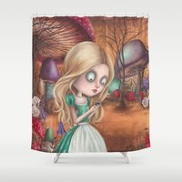 returns Shower Curtains featuring Alice returns by Caroletta