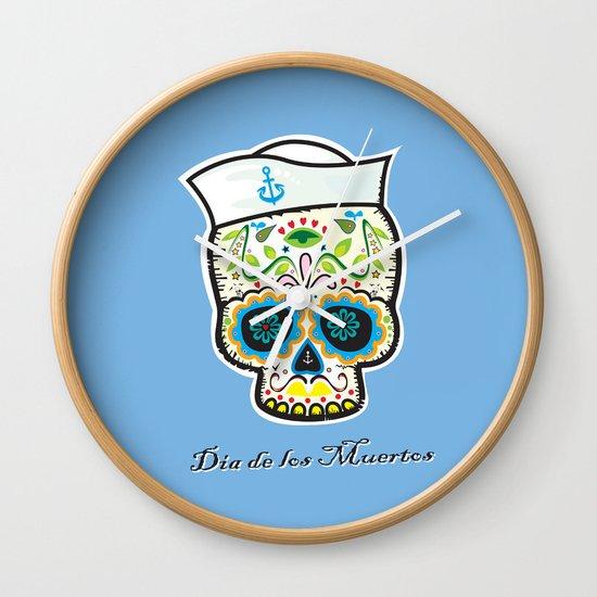 Dia de los Muertos/mexican sailor skull Wall Clock