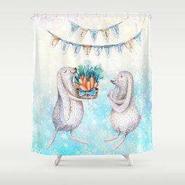 Christmas bunny #2 Shower Curtain
