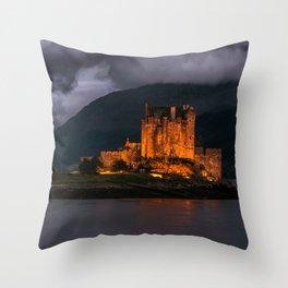 Golden Castle Throw Pillow