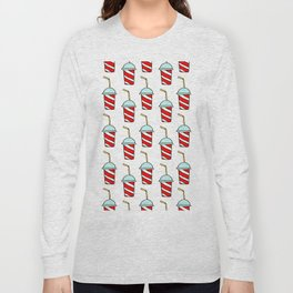 Takeaway soft drinks background with seamless pattern of red and white striped paper cups Long Sleeve T-shirt