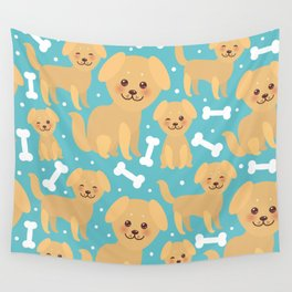 pattern funny golden beige dog and white bones, Kawaii face with large eyes and pink cheeks Wall Tapestry