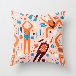 Swimmers in pink Throw Pillow