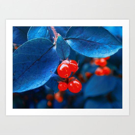 Garden Red Lamps Art Print