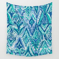 fringe Wall Tapestries featuring AQUAMARINE FRINGE TRIBAL by Barbarian // Barbra Ignatiev