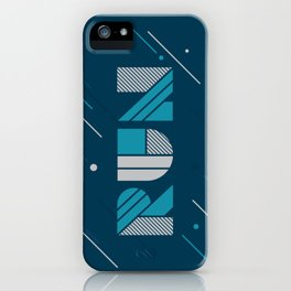 Run - Teal and Silver Geometric Type (Dark) iPhone Case