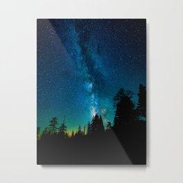 Blue White Milky Way Galaxy At Night Stars At Night Black Trees Silhouette Metal Print