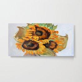 Sunflower, summer, art, original oil painting Metal Print