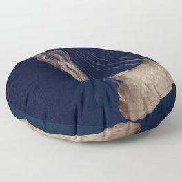 Vintage Retro Pop Art Jellyfish Aqua Ocean Beach Art Under the Sea Underwater Photography Print Floor Pillow