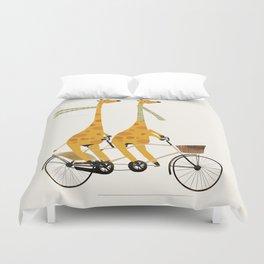 lets tandem giraffes Duvet Cover