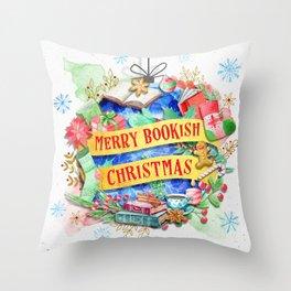 Merry Bookish Christmas Throw Pillow