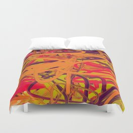 Orange Purple Green & Pink Abstract Duvet Cover