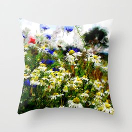 Camomile Meadow Throw Pillow