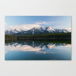 Rocky mountains reflected on Herbert Lake, Alberta, Canada Canvas Print