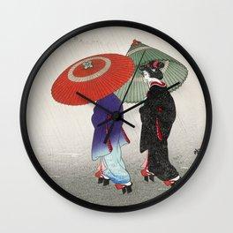 The walk in the rain Wall Clock