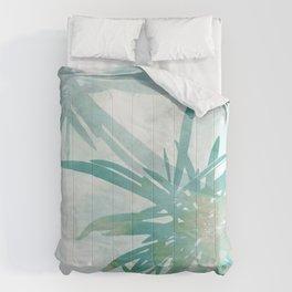 Aqua Blue Watercolor Palm Leaves Painting Comforters